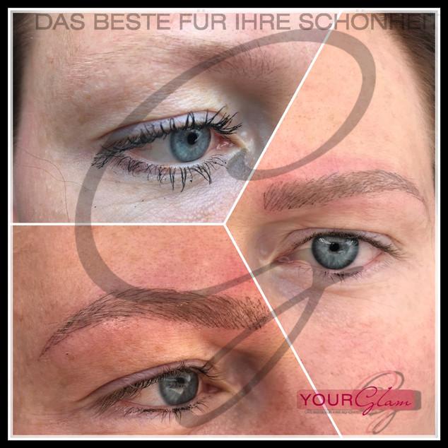 Augenbrauen Härchenzeichnung vorher und nachher