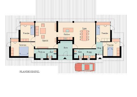 plantegnig - eksklusiv bolig indrettet med maksimale hensyn til rum, form og funktion
