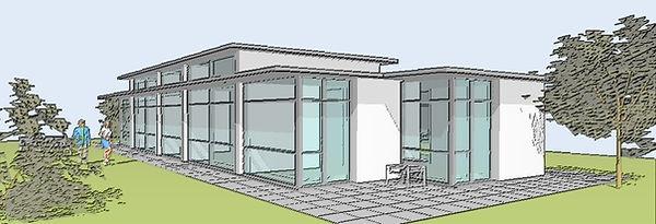 perspektiv - 3D illustration - med vægt på maksimalt lysindfald, udsyn og kontakt til udearealerne