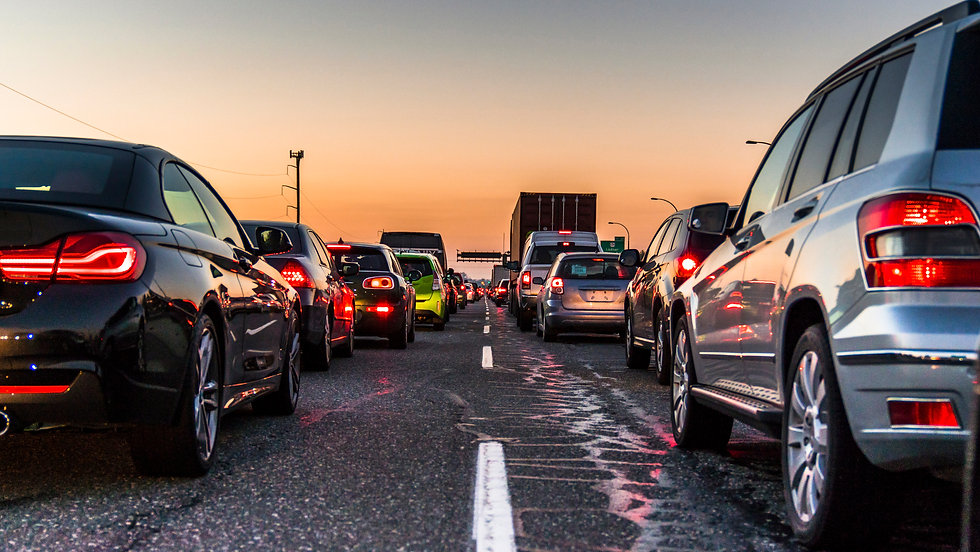 Vancouver, British Columbia - Canada. Traffic jam on a busy highway at rush hour. Cars in