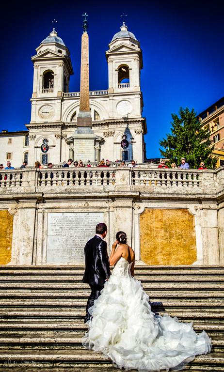 Wedding Couple_Spanish Stairs_Rome, Ital