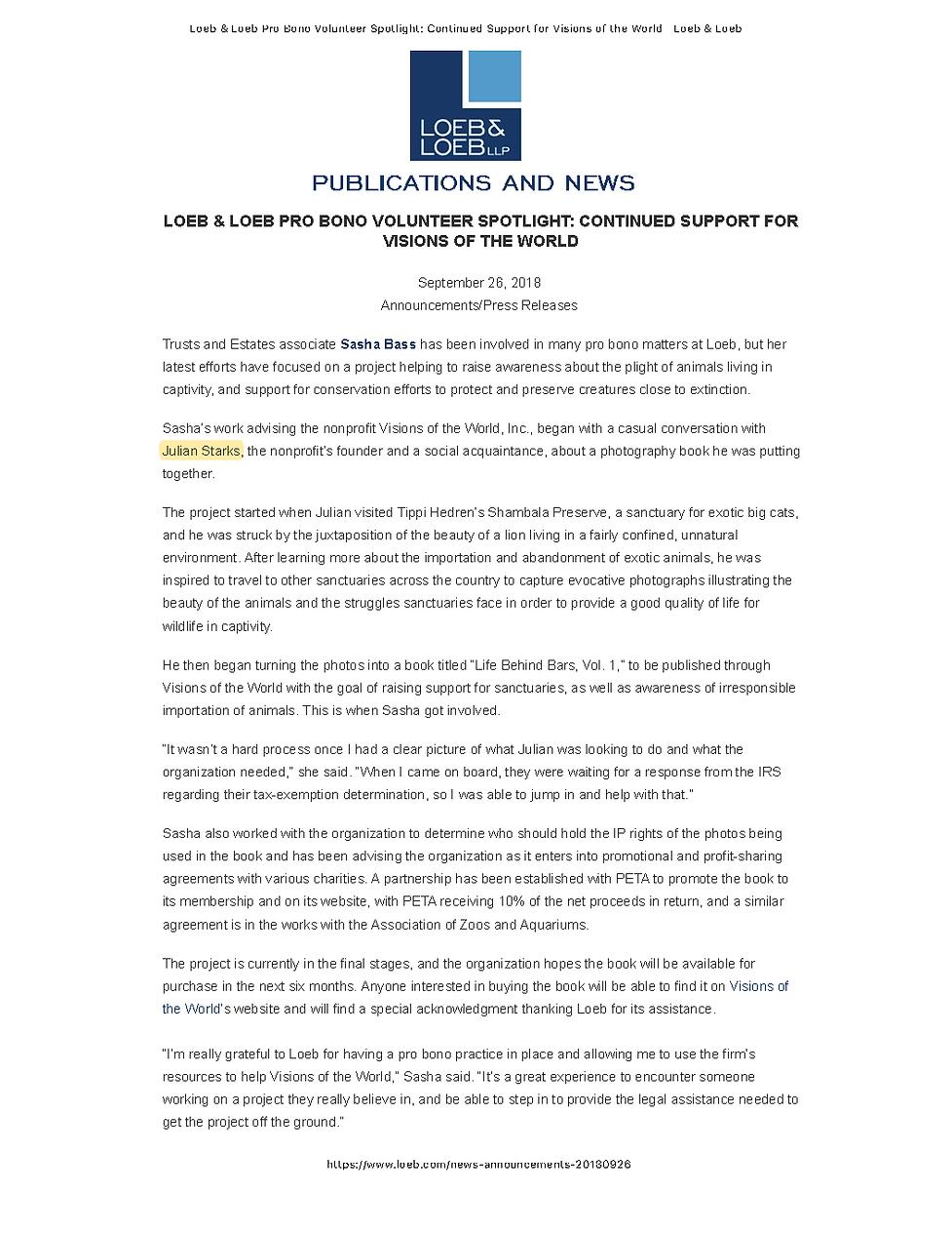 Loeb & Loeb Pro Bono Support for Visions