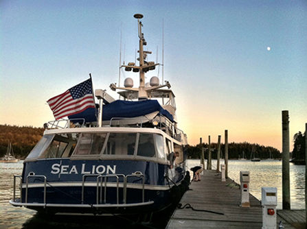 The Delta 70 Sea Lion securing lines for the night