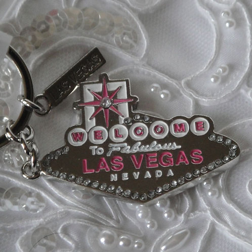 Las Vegas Sign Key Chain, Pink/White
