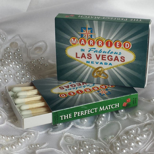 Married in Las Vegas Wooden Matches, Set of 24
