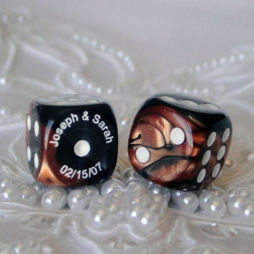 Copper / Black Swirl Dice