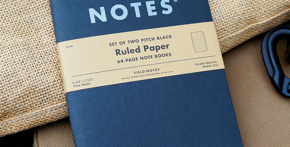 Field Notes - Pitch Black Ruled 2-Pack