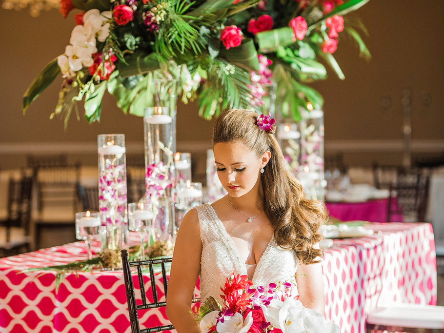Bride sitting with flowers Venue in Cypress, Texas