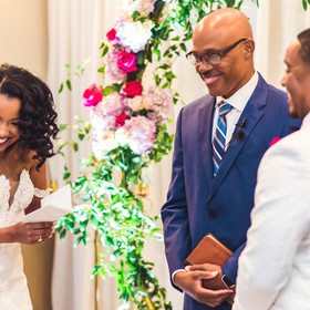 Couples laughing after getting married
