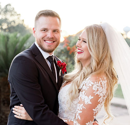 Smiling Bride and Groom Wedding, Luxury Wedding, Venue in Cypress, Outside Ceremony, Happy Couple, Love, Red Lipstick
