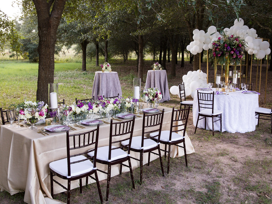 Outside Ceremony and Reception Decoration, A Thousand Oaks in Cypress, Texas