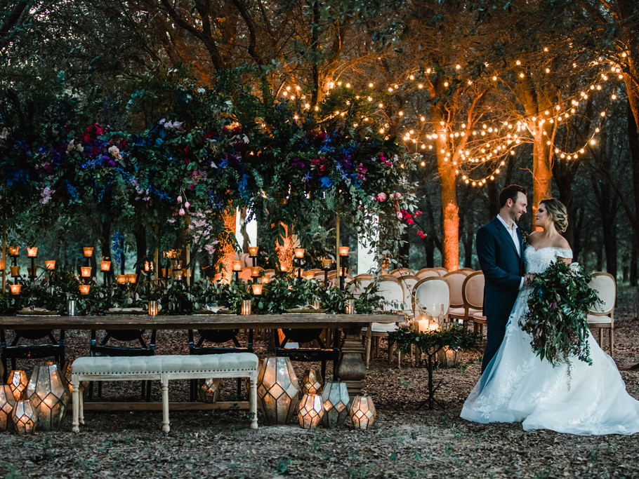 Couple celebrating Wedding Ceremony and Reception outside Venue in Cypress, Texas