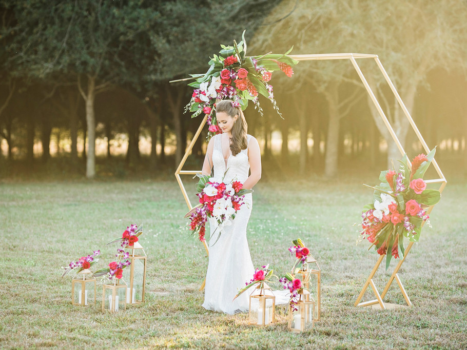 Bride surrounded by trees and flowers - A Thousand Oaks Cypress
