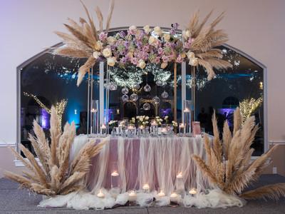 Pampas Decoration inside beautiful Wedding Venue