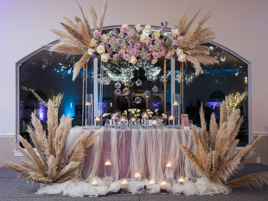 Pampas Decoration inside beautiful Wedding Venue