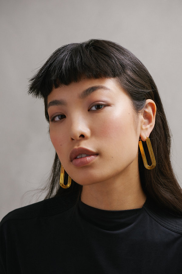 Arco Studio, Handmade, statement earrings, sterling silver, gold plated, chandelier earrings, luxury, architectural earrings, chalk jewllery, carlo scapa, inspired jewllery