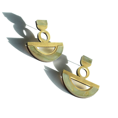 Ife Earrings in Green Marble