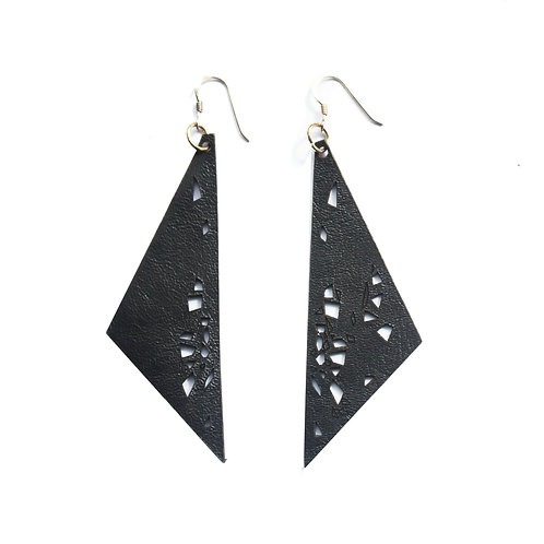 Leather Earrings - Black