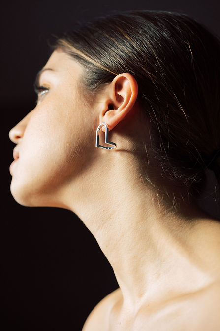 Arco studio, design, chalk jewellery, arched angle earrings, luxury, gold, sterling silver, angular, curved, polished, jewels, jewelry, architectural