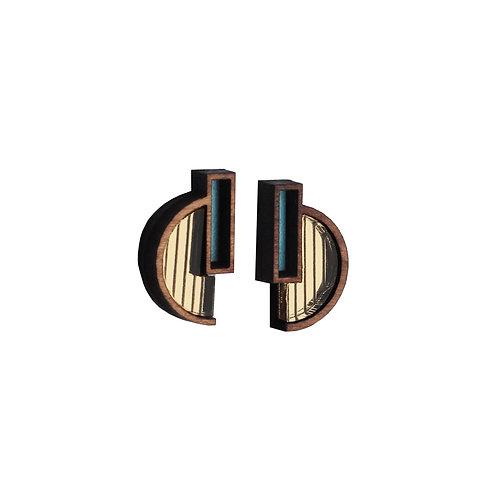 Solana Earrings - Gold + Green