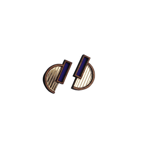Solana Earrings - Gold + Indigo