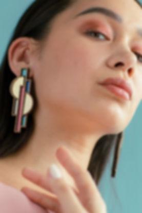 Chalk Jewellery, shaped objects collection, ricardo bofill, architecture, inspired, architectural, lasercut, handmade, walnut, acrylic, pespex, jewellery, jewels, jewelry, blogsbynoel