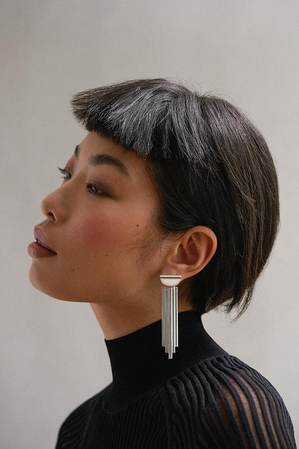 Handmade, statement earrings, sterling silver, gold plated, chandelier earrings, luxury, architectural earrings, chalk jewllery, carlo scapa, inspired jewllery