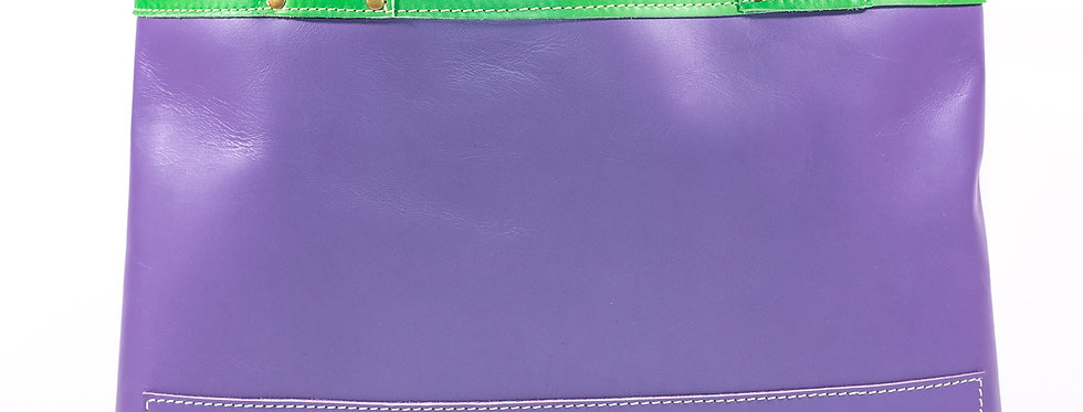 Lavender and Lime Green Leather Tote