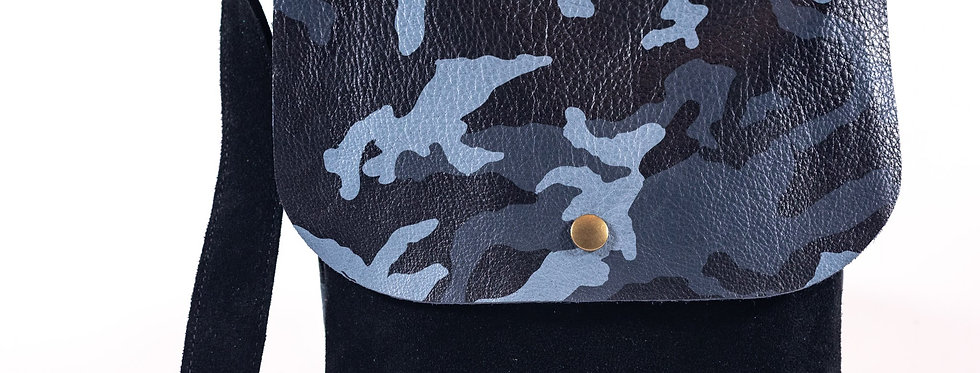 Black Suede and Navy Camo Satchel