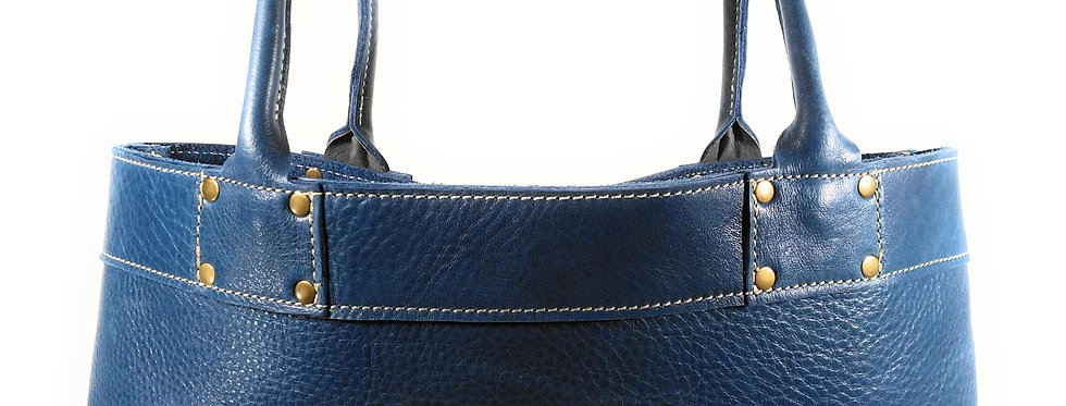 Cobalt Blue Leather Tote