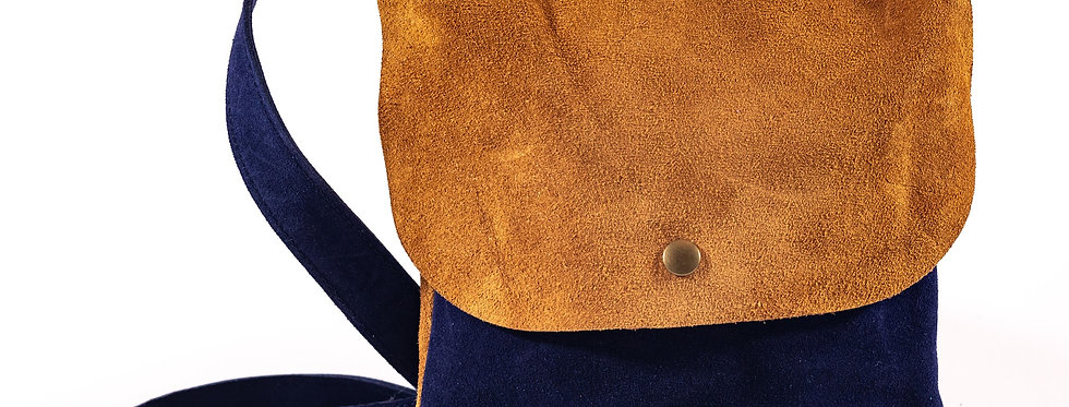 Navy and Toast Suede Satchel