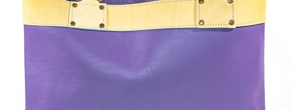 Lavender and Sesame Leather Tote