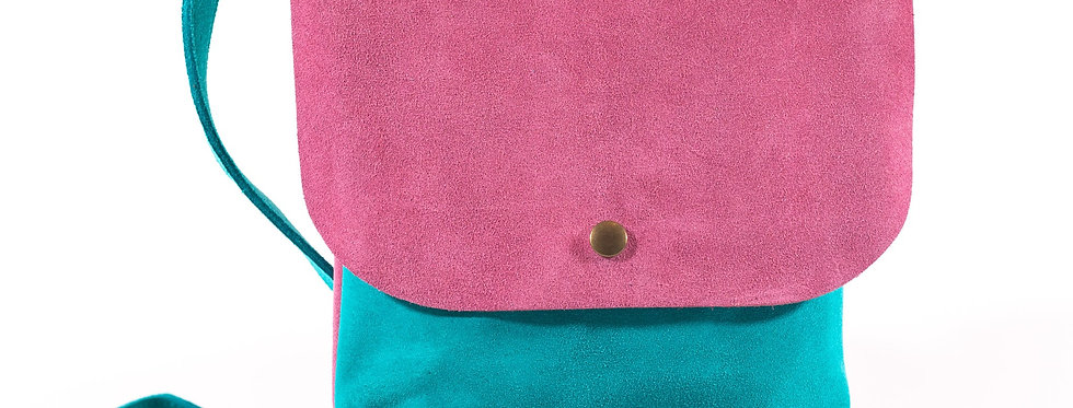 Teal and Dusty Rose Satchel