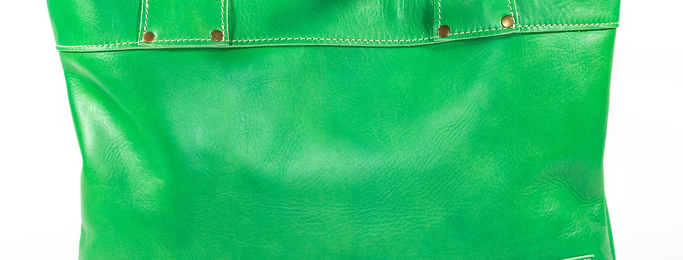 Lime Green Leather Tote