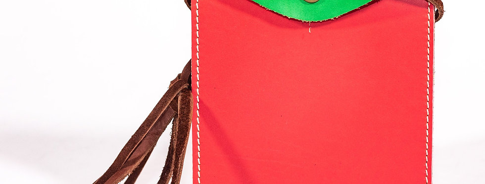 Watermelon Pink and Lime Green Leather Cross Body