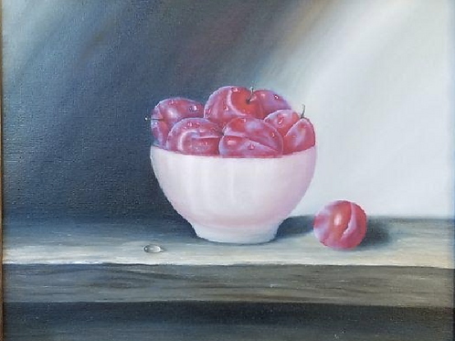 """A Bowl with Plums"" by  Natallia Yenza"