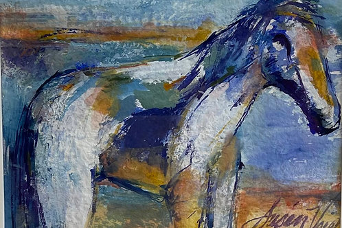 """""""Blue Horse"""" by Susan Voigt Gouache, 5 x 7, matted in frame,"""