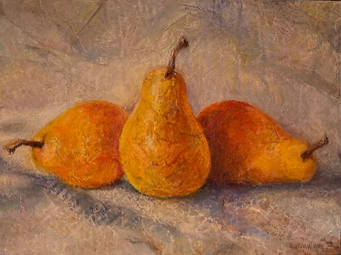 """Textured Pears"" by Susan Wenger"
