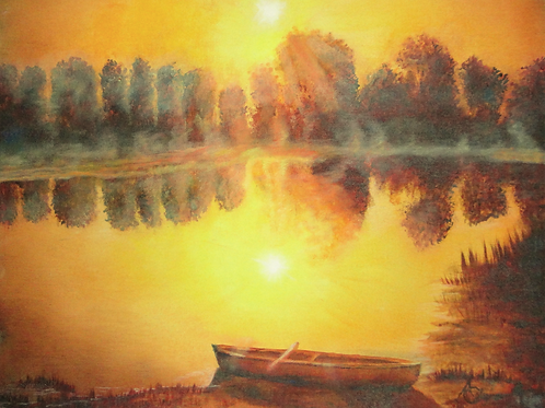 """""""Boat off Golden Pond"""" by Annette Colgrove"""