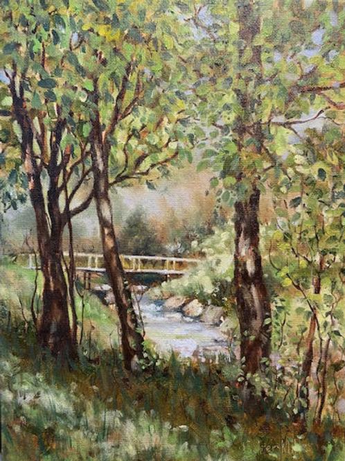 """""""Bridge in Spring"""" by Darlene Selzer Miller"""