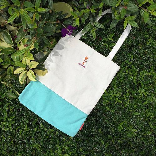 Pharrell Colourblock Tote Bag (Turquoise/ White)