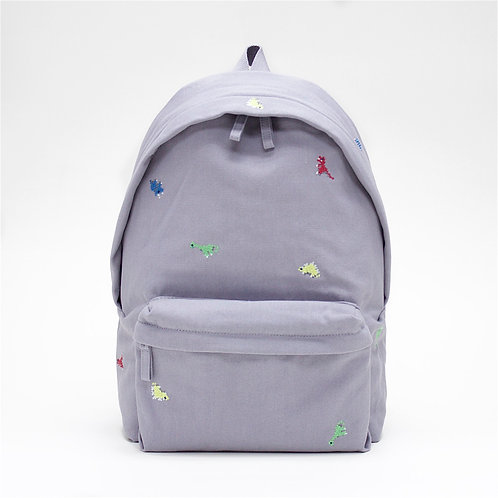 Dino Embroidery Canvas Backpack (Grey)