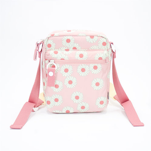 Recycled polyester printed cross shoulder bag(Pink)
