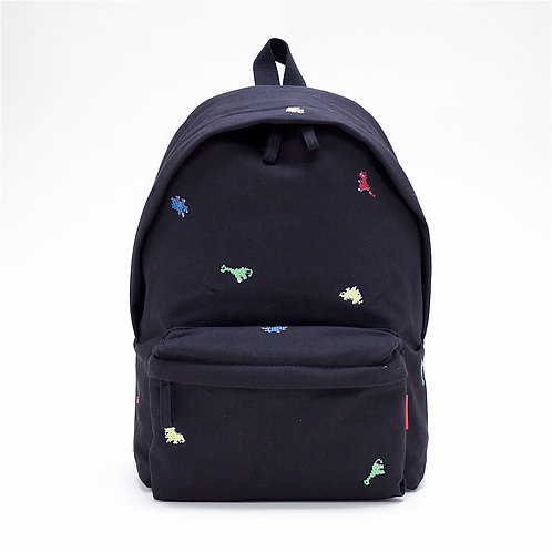 Dino Embroidery Canvas Backpack (Black)