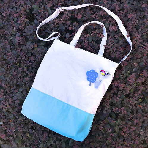 Color Block 2 Ways Tote Bag (Turquoise/White)