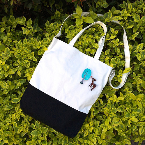 Color Block 2 Ways Tote Bag (Black/White)
