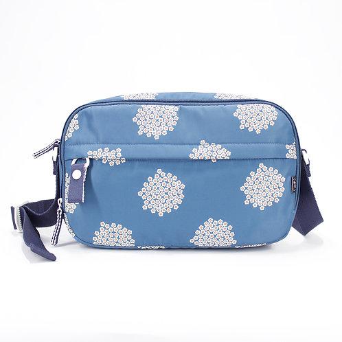 Recycled polyester floral printed cross shoulder bag (Blue)