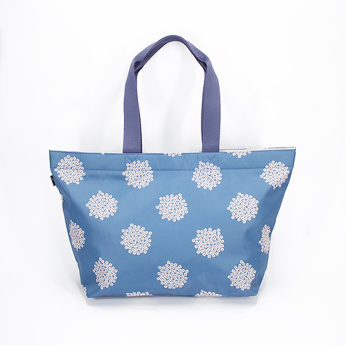 Recycled polyester floral printed tote (Blue)