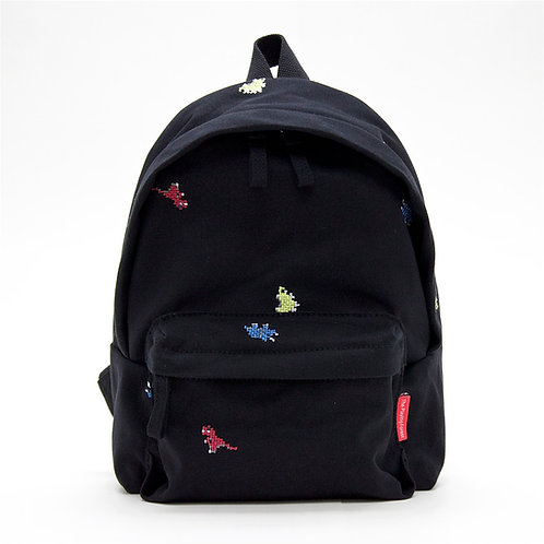 Dino Embroidery Canvas Mini Backpack (Black)