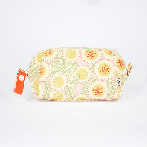Recycled polyester floral printed cosmetic pouch (Pink)